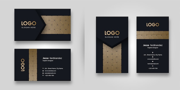 Luxury pattern dark  business card template