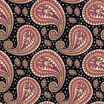 검은색 바탕에 황금색과 분홍색의 페이즐리 장식 디자인이 있는 고급 패턴입니다. 벽지, 섬유 디자인 및 포장지 인쇄에 적합합니다.