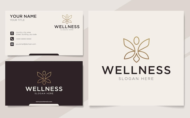 Luxury people wellness logo and business card template