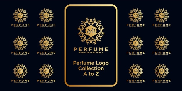 Коллекция роскошных парфюмерных логотипов с первоначальной концепцией.