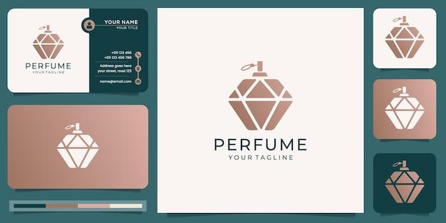 Роскошный парфюмерный логотип с дизайном флакона и шаблоном визитной карточки