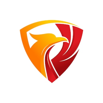 Luxury phoenix shield logo template