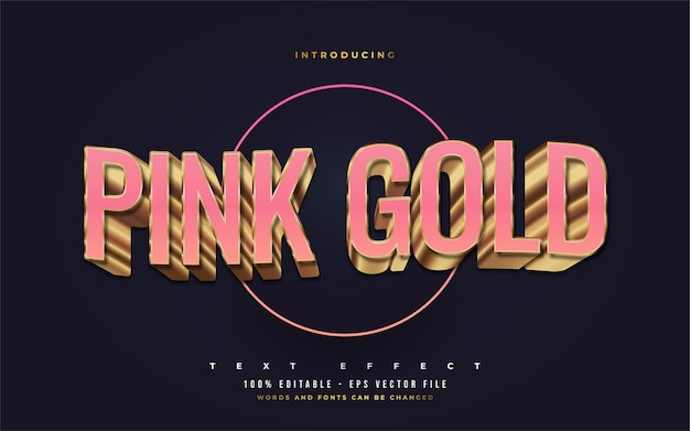 Luxury pink and gold text style with 3d embossed effect. editable text style effects