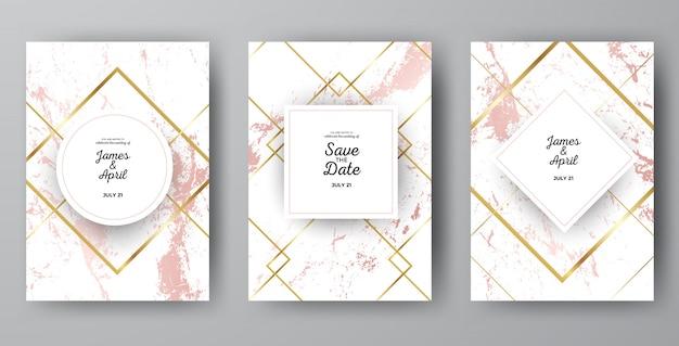 Luxury pink marble wedding invitation card templates