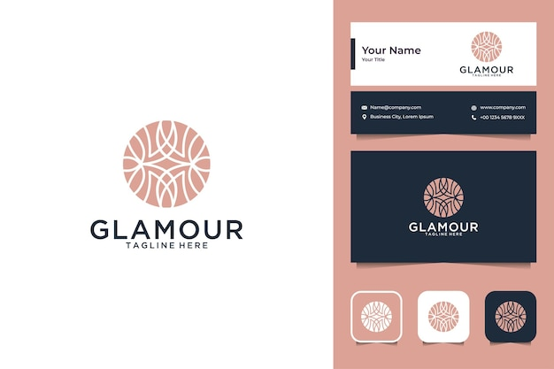 Luxury plant circle logo design and business card