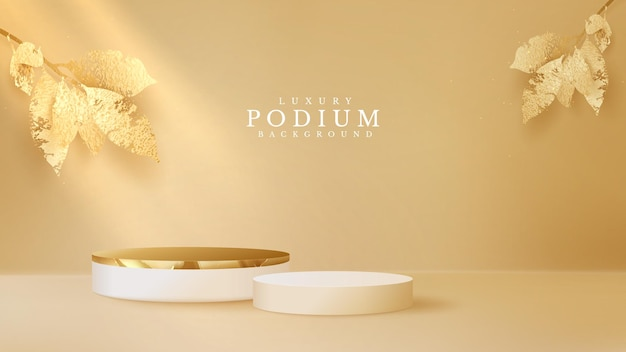 Luxury podium display with golden leaves on brown pastel background, minimal pedestal, stage showcase empty space for beauty and cosmetics product, 3d vector illustration.