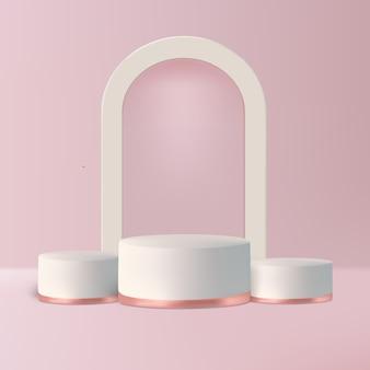 제품을 보여주는 분홍색 배경에 고급 연단