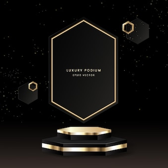 Luxury podium with black and gold