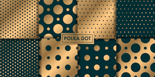 Luxury polkadot seamless pattern collection, abstract background, decorative wallpaper.