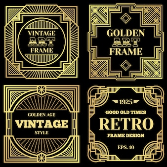 Luxury poster design with gold frames in art deco old classic style.
