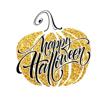 Luxury poster on halloween with pumpkin and caligraphy lettering. vector illustration eps10