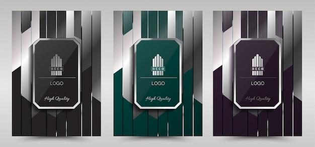 Luxury premium art deco cover layout design template,