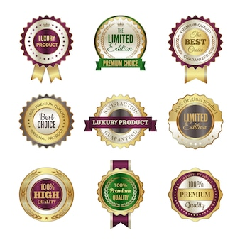 Luxury premium badges. high quality golden crown best choice labels and stamp  template for certificate and documents