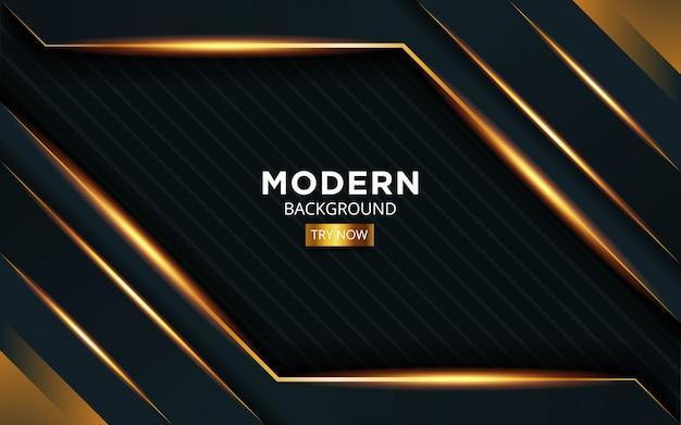 Luxury premium black and gold background banner design with golden line in stripe texture.