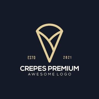 あなたの会社のための豪華なプレミアムクレープのロゴのイラスト