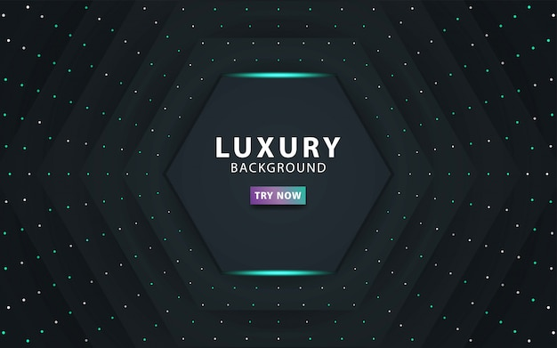 Luxury premium dark abstract overlay layers background realistic light effect on textured black pentagon and dots background.with blue line.digital template, .