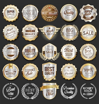 Luxury premium golden badges and labels