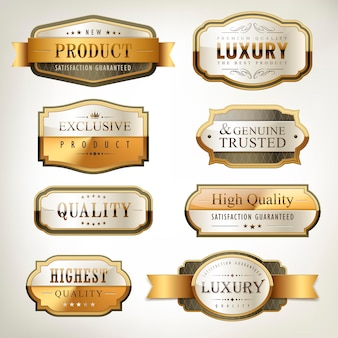 Luxury premium quality golden plates collection over pearl white background