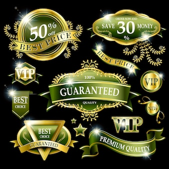 Luxury premium quality labels collection in green and gold