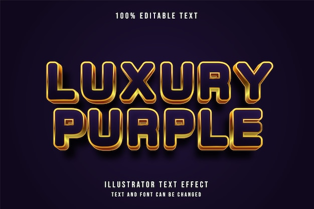 Роскошный фиолетовый, трехмерный редактируемый текстовый эффект, современный фиолетовый золотой стиль текста