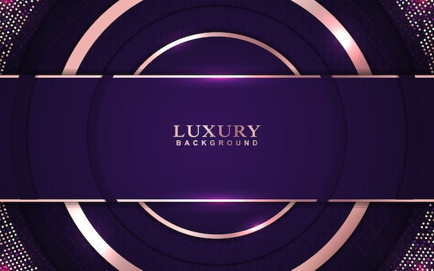 Luxury purple background with rose golden decoration
