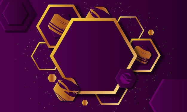 Luxury purple and gold hexagonal overlapping layer background. vector illustration