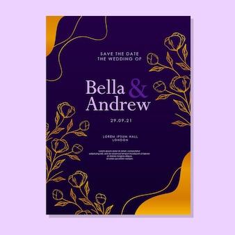 豪華な紫の手で描かれた花のエレガントな結婚式の招待状のテンプレート