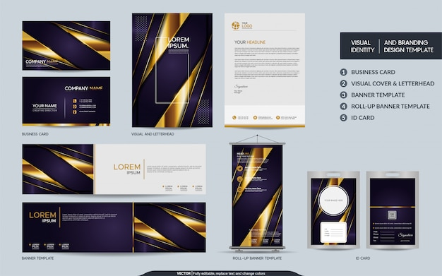 Luxury purple stationery branding set and visual brand identity with abstract overlap layers