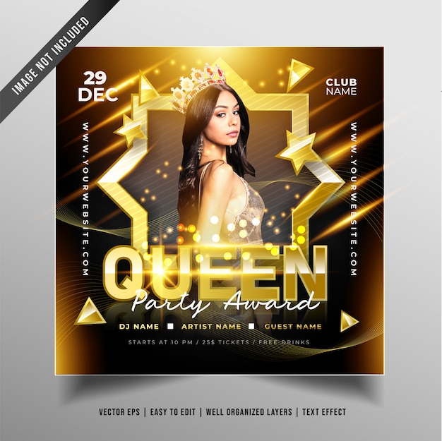 Luxury queen party design for social media promotion