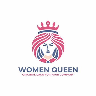 Luxury queen, woman, face, salon, beauty logo design template.