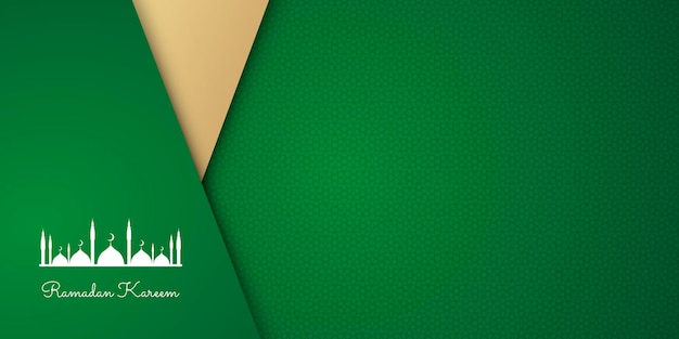 Luxury ramadan banner with green arabesque pattern arabic islamic east style.