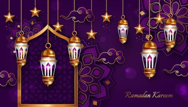 Роскошный рамадан карим фоновая иллюстрация
