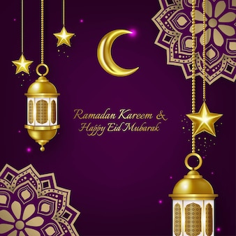 Luxury ramadan kareem and eid mubarak greeting card
