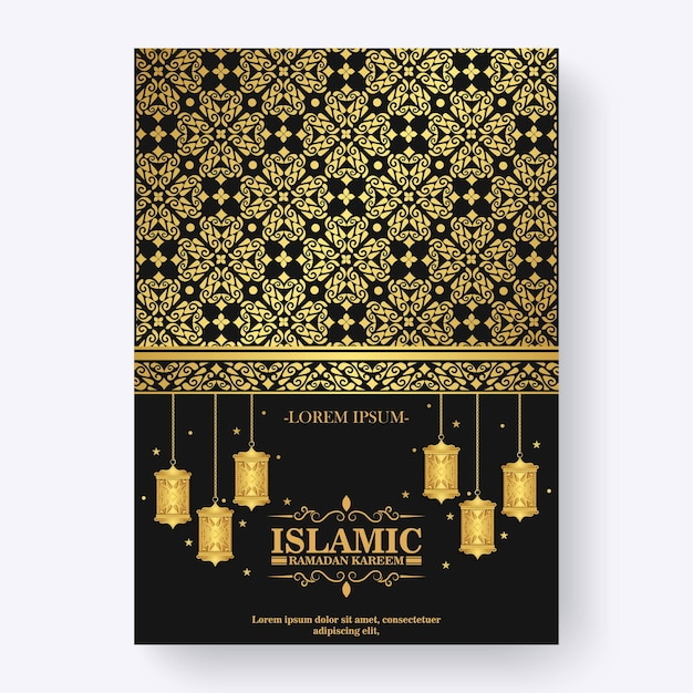 Роскошный флаер рамадан карим с орнаментом