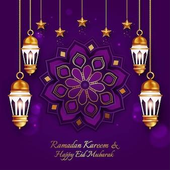 Luxury ramadan kareem and happy eid mubarak greeting card