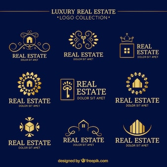 Luxury real estate logo collection with folden details