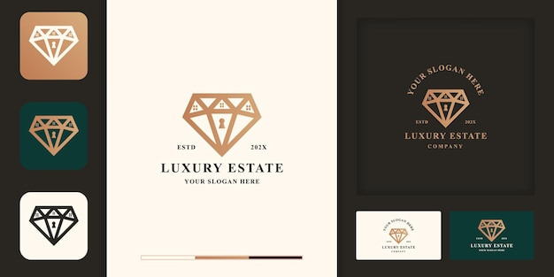 高級不動産のロゴデザイン、ダイヤモンドと家の組み合わせ、名刺デザイン