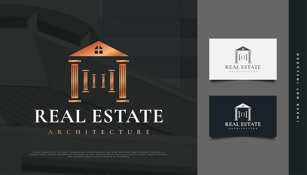 Luxury real estate logo design with pillar concept. construction, architecture or building logo design