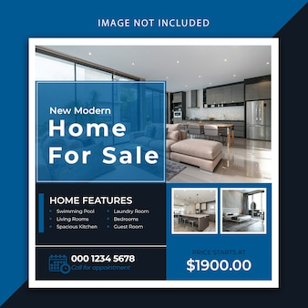 Luxury real estate social media banner and post template