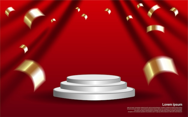 Luxury realistic podium on curtain background.