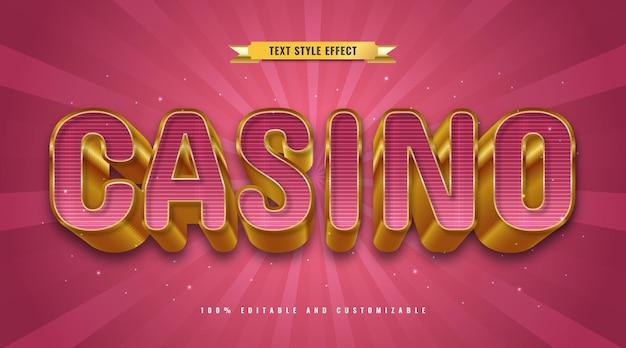 Роскошный красный и золотой стиль текста казино с эффектом трехмерного тиснения. редактируемый текстовый эффект