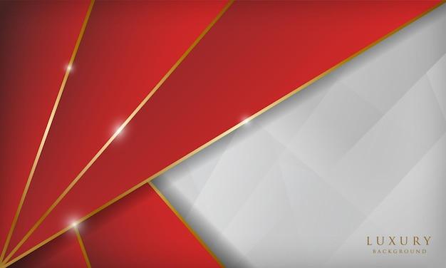 럭셔리 빨간색과 흰색 황금 라인 배경