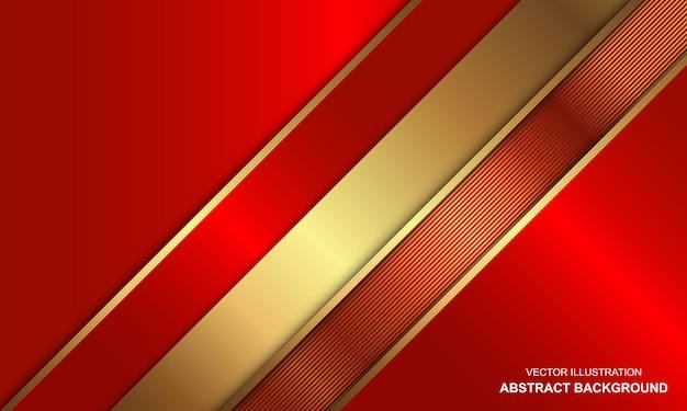 金色の線の組み合わせと豪華な赤い背景