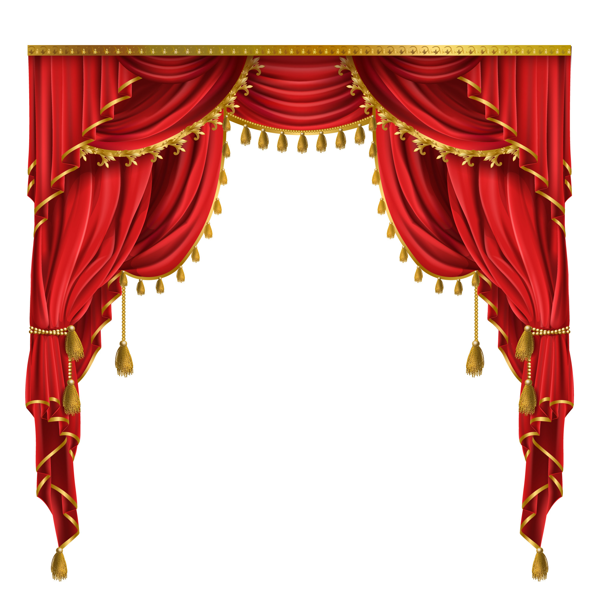 Luxury red curtains in victorian style, with drapery, tied with golden cord
