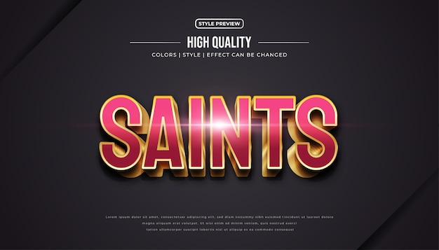 Luxury red and gold text effect in 3d style.
