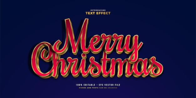 Luxury red and gold text style with 3d effect. editable text style effect