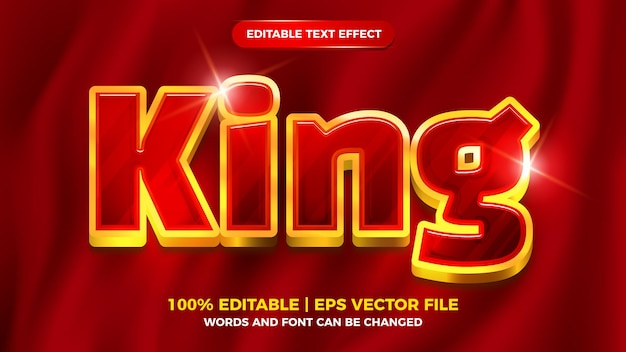 Luxury red king editable text effect 3d template style