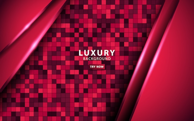 Luxury red overlay layers background. realistic light effect on textured red square background.