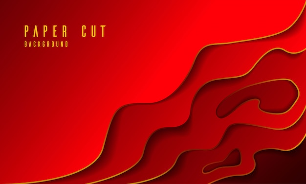 Luxury red paper cut abstract background
