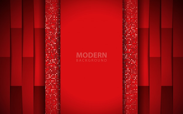 Luxury red paper shapes background with glitters element